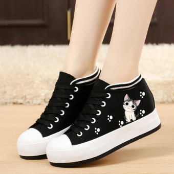 Korean-style Plus velvet thick bottomed flat heel cloth shoes canvas shoes (Cat footprints models [Black within the higher])
