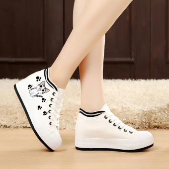 Korean-style Plus velvet thick bottomed flat heel cloth shoes canvas shoes (Cat footprints models [White muffin flat])