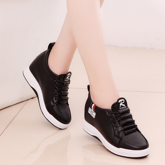Korean-style Plus velvet thick bottomed sports casual shoes elevator women's shoes (Black 306)
