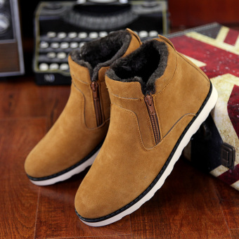 Korean-style Plus velvet to help warm cotton-padded shoes winter snow boots (188 (master map paragraph) Brown (SLIM))