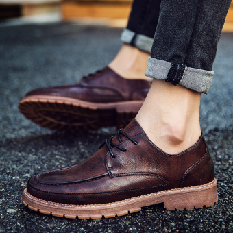 Korean-style Plus velvet young men's small leather shoes casual leather shoes (CD1739 Brown)