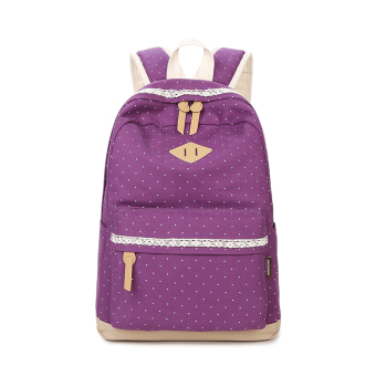 Korean-style polkadot printed school bag (Purple (to send purse + Bear Pendant))