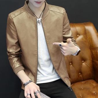 0d082a0e7 Korean-style PU Leather men Slim fit jacket men s jacket (Khaki color thin  section