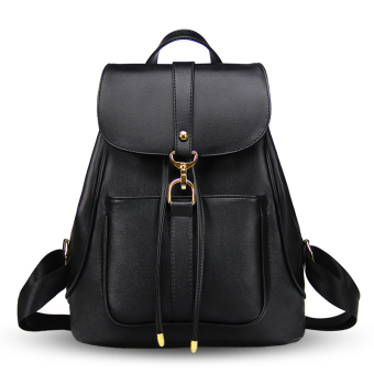 Korean-style PU Leather New style shoulder bag women's bag (Charm black [drawstring closure models])