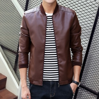 Korean-style PU Leather Slim fit men's jacket Leather (818 Brown)