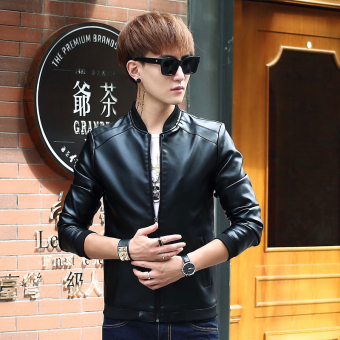 Korean-style PU Leather Slim fit men's jacket Leather (8916 black)