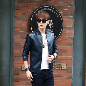 Korean-style PU Leather Slim fit men's jacket Leather (8916 black blue)