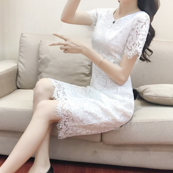 Korean-style red female New style dress summer dress (White)