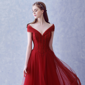 Korean style red Slim fit dinner evening dress wedding veil dress (Wine red color) (Wine red color)