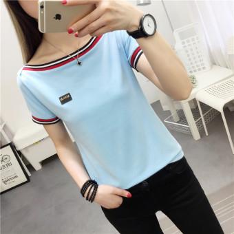 Korean style retro women students horizontal neck Top T-shirt (Sky blue color)