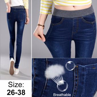 Korean Style Sexy Jeans Women Casual High Waist Elastic Denim LongPencil Pants Lady Trousers (Navy Blue) - intl