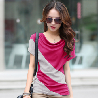 Korean-style Short sleeve Slimming effect small shirt (Rose color + gray)