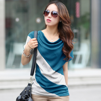 Korean-style Short sleeve Slimming effect small shirt (Sky blue color + gray)