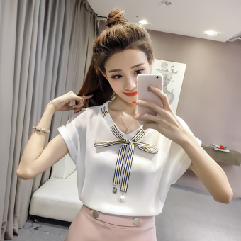 Korean-style short-sleeved female New style Top chiffon shirt (White)