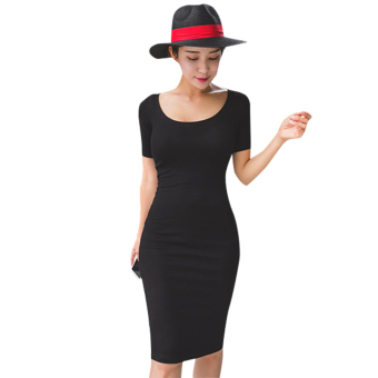 Korean-style short sleeved sheath mid-length dress slim fit dress (Black)
