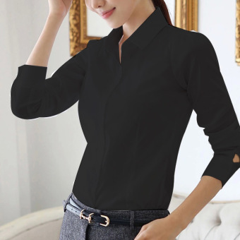Korean-style short sleeved Short sleeve work clothes white women's shirt (Black (long sleeves))