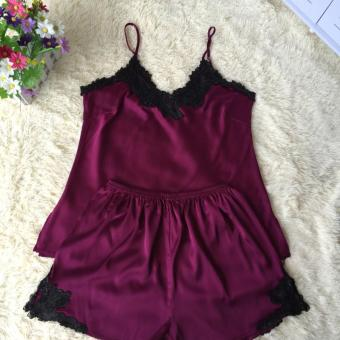 Korean-style silk female summer tracksuit pajamas (Wine red color)