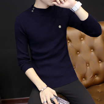Korean-style Slim fit New style men's sweater T-shirt (Blue)