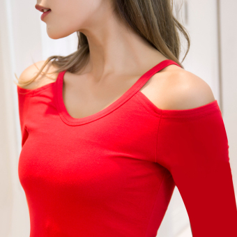 Korean-style Slim fit round neck New style Top T-shirt (Red long-sleeved)