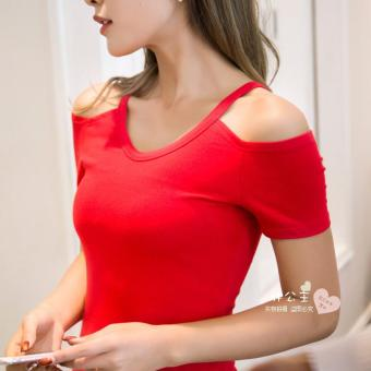 Korean-style Slim fit round neck New style Top T-shirt (Red short-sleeved)