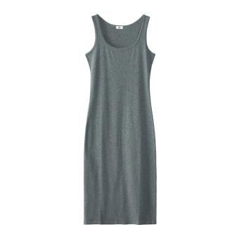 Korean-style Slim fit slimming mid-length base skirt dress for women (Dark gray color)