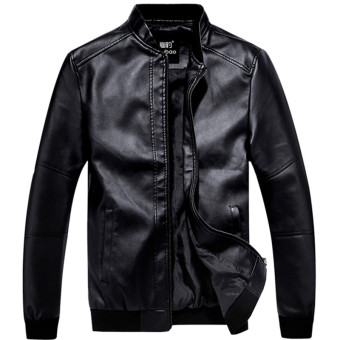 Korean-style Slim fit stand-up collar motorcycle leather jacket Leather (Black)