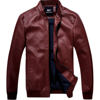 Korean-style Slim fit stand-up collar motorcycle leather jacket Leather (Dark red color)