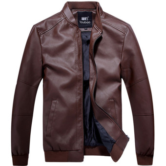 Korean-style Slim fit stand-up collar motorcycle leather jacket Leather (RED BROWN)