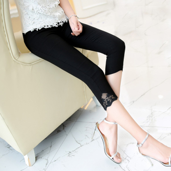 Korean-style Slim fit thin skinny pencil pants Capri pants (Lace paragraph black)
