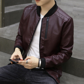 Korean-style Slim fit type student youth motorcycle leather jacket men's leather (Wine red color)