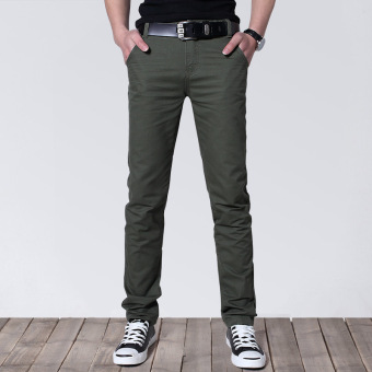 Korean-style Slim Fit Youth Summer skinny pants men's casual pants (Army Green)