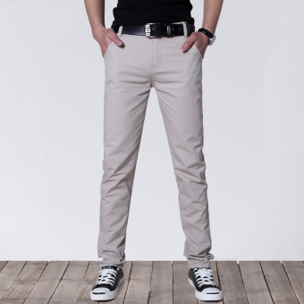 Korean-style Slim Fit Youth Summer skinny pants men's casual pants (Beige)