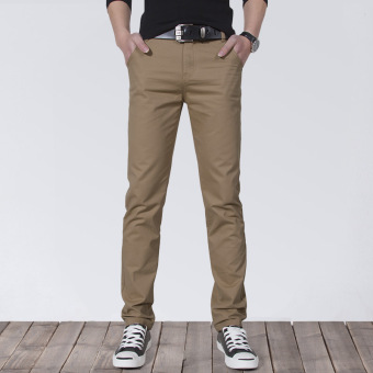 Korean-style Slim Fit Youth Summer skinny pants men's casual pants (Deep Khaki)