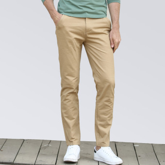Korean-style Slim Fit Youth Summer skinny pants men's casual pants (Khaki)