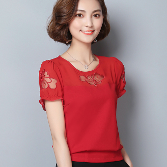 Korean-style slimming short sleeved chiffon shirt (Red) (Red)