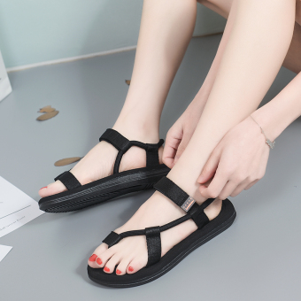 Korean-style slip outerwear sandals versatile slippers (Black)