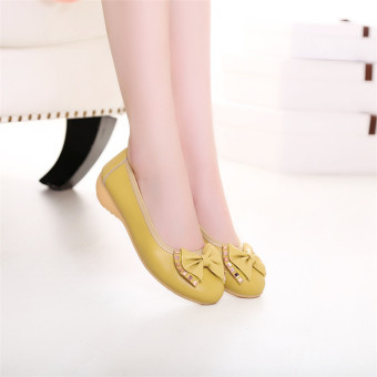 Korean-style soft bottom non-slip flat heel shoes women's sandals (Lemon yellow) (Lemon yellow)