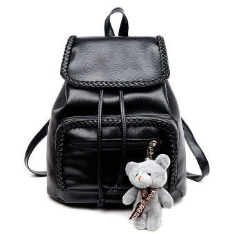 Korean-style soft leather travel women's bag shoulder bag (Black to send Bear [spot goods on sale])