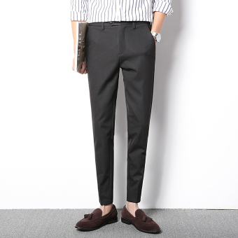 Korean-style solid color autumn Slim fit versatile feet pants men's casual pants (Black)
