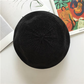 Korean-style solid color female spring and summer bud cap beret cap (Black)