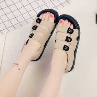 Korean-style solid color flat heel summer rubber shoes sandals (Off-white color)