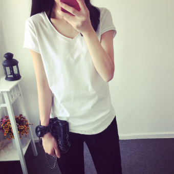 Korean-style solid color short sleeved t-shirt small shirt (White) (White)