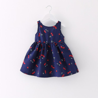 Korean-style solid color summer cherry floral vest skirt (Dark blue color version1) (Dark blue color version1)