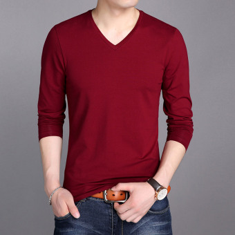 Korean-style solid color v-neck youth autumn dress Top mercerized cotton long-sleeved t-shirt (Red-)