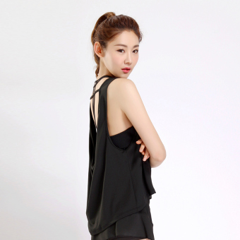 Korean-style solid I vest New style yoga clothes (Black-BX005)