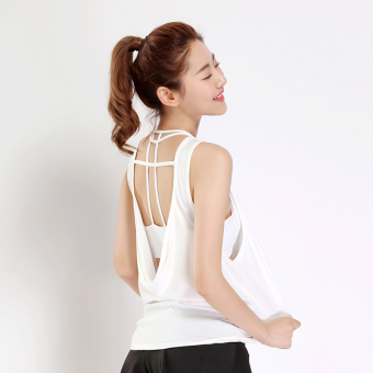 Korean-style solid I vest New style yoga clothes (White-BX005)