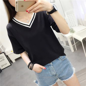 Korean-style solid New style Slim fit Top (Black)