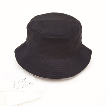 Korean-style solid New style spring and summer fisherman hat (Flat Top Black)