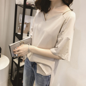 Korean-style solid New style women Top loose short-sleeved t-shirt (Light casual)
