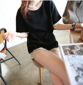 Korean-style solid Plus-sized Short sleeve bottoming shirt T-shirt (Black)